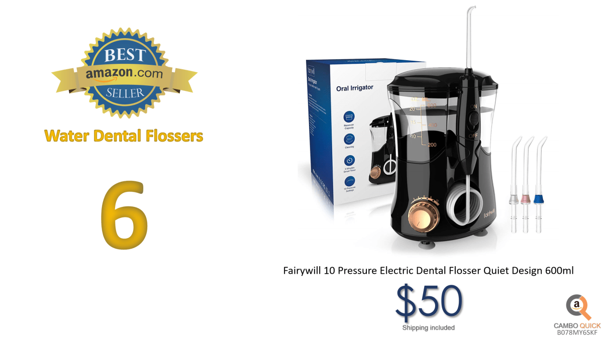 Fairywill 10 Pressure Electric Dental Flosser Quiet Design 600ml.png