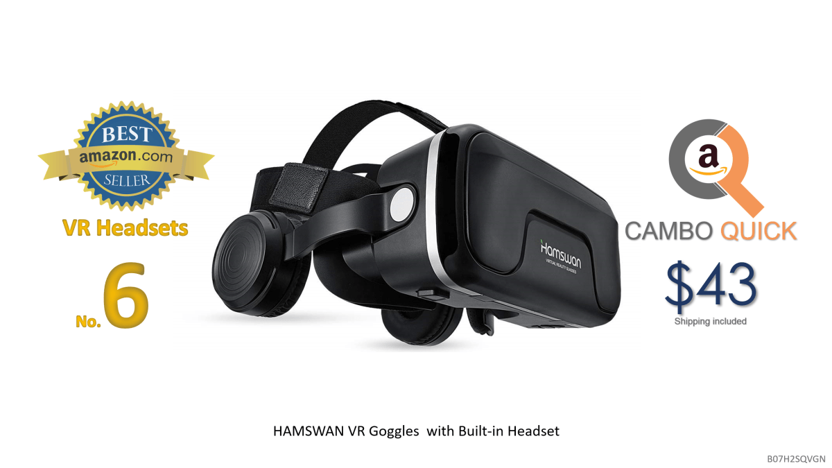 HAMSWAN VR Goggles, 3D VR Glasses VR Headset Virtual Reality Goggles Headset Glasses with Built-in Headset, Unique Design and Multifunction Button