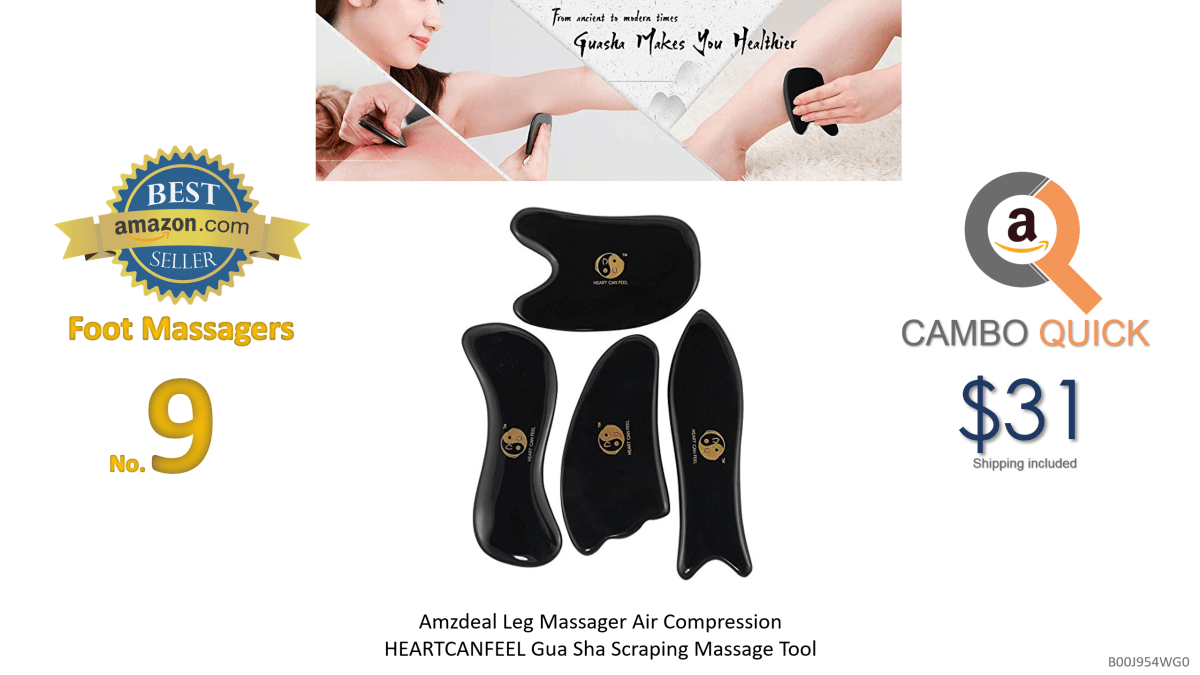 HEARTCANFEEL Gua Sha Scraping Massage Tool Ultra Smooth Edge, High Quality Hand Made Buffalo Horn Gua Sha Board-Reduce Neck and Muscle...