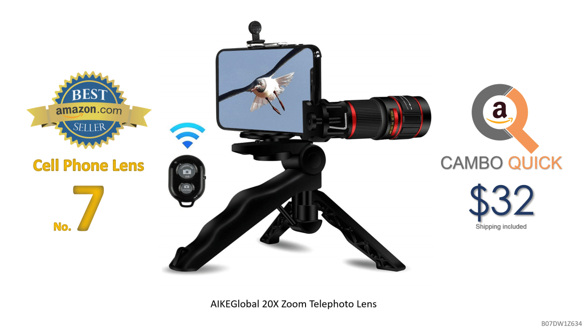 Phone Camera Lens, AIKEGlobal 20X Zoom Telephoto Lens, Stronger Phone Tripod, Wireless Remote Shutter,Photo Holder Compatible iPhone, Samsung,iPad and Most Smartphones.png