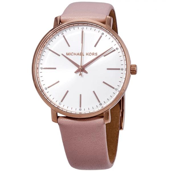 MICHAEL KORS Pyper White Dial Pink Leather Ladies Watch MK2741
