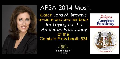 #APSA2014 Lara Brown Cambria Press academic publisher President