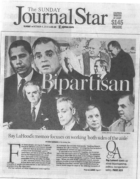 Ray LaHood JournalStar Seeking Bipartisanship Cambria Press boook author publication