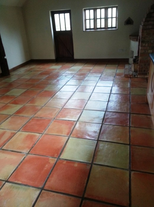 Terracotta Tiled Floor After Clean and Seal in Great Gransden