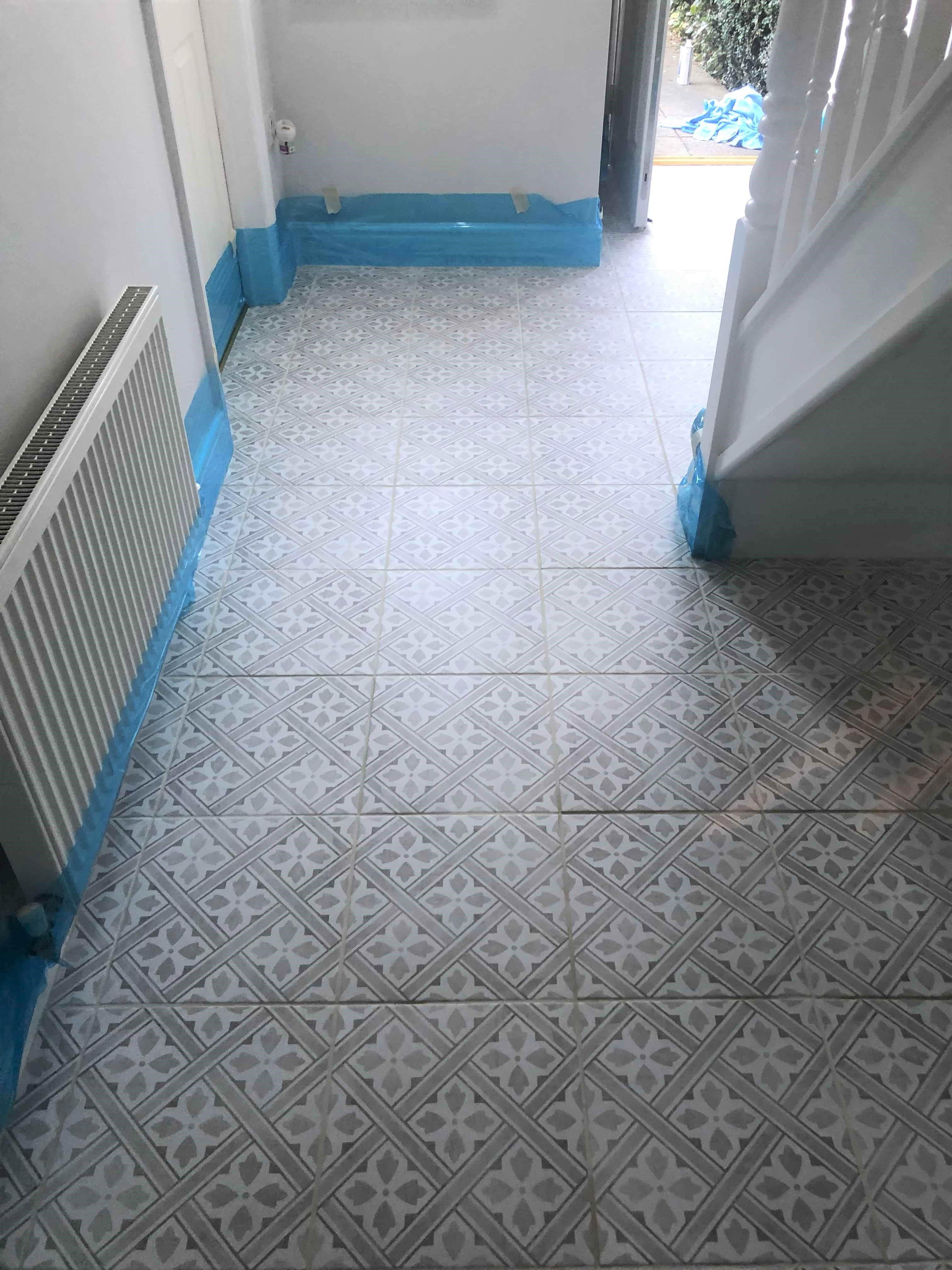 Encaustic Tiled Hallway After Cleaning Waterbeach