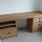 Oak Desk with integrated filing cabinet and partitioned drawers