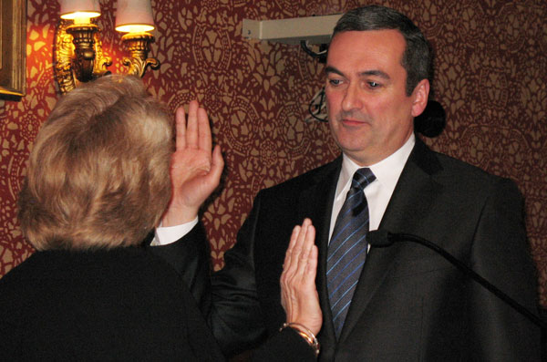 David Maher taking oath of office