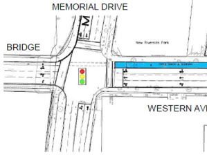 Western Avenue at Memorial Drive, conceptual drawing