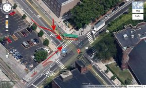 Massachusetts Avenue and Vassar Street, indicating possible direction of travel of bicycle