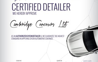 Cambridge Concours get another certification under the belt as a Gyeon approved Detailer!