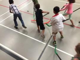Grade 2/3 Floor Hockey Action