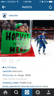 Cambridge learner features on the Vancouver Canucks Instagram account