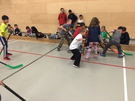 Floor hockey action
