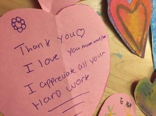 Love notes...Parent Appreciation Tea