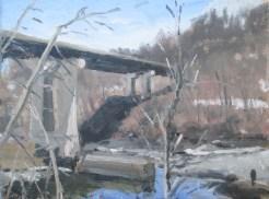 Chinian, #496 Hoosic River @ Valley Falls 3-24-15 12x16