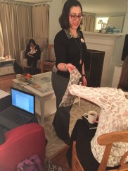 Executive Artistic Director Norma Szokolyai handing out objects for the Workshop of the Evocative Object