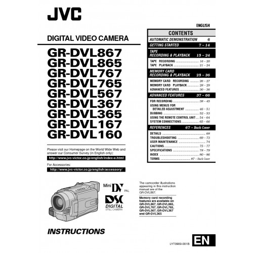 JVC GR-DVL167EG Camcorder Manual Technical Details Pdf