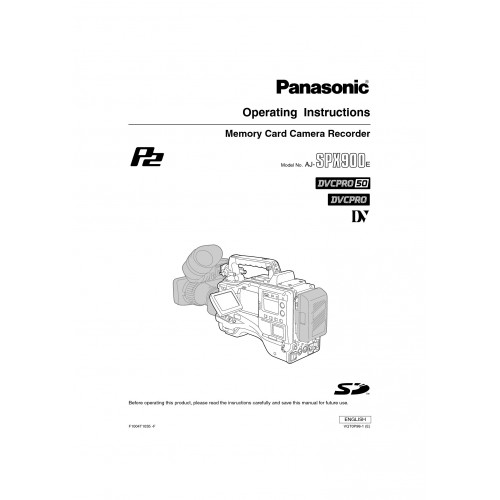 Panasonic AJ-SPX900E Camcorder Manual Technical Details