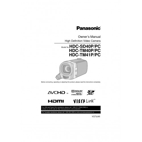 Panasonic HDC-SD40 Camcorder Manual Technical Details Pdf