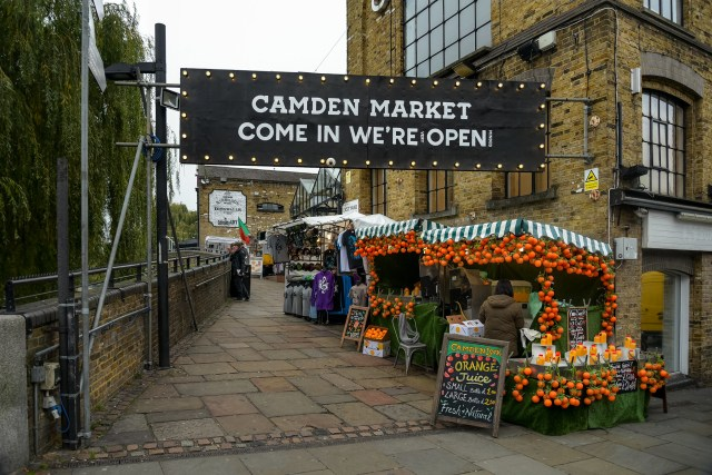 Sign saying Camden Market Come In We're Open