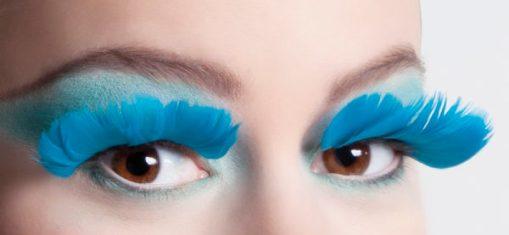 faux-cils plumes bleues