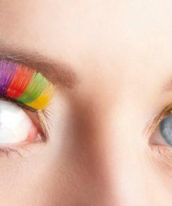 faux-cils arc-en-ciel multicolores