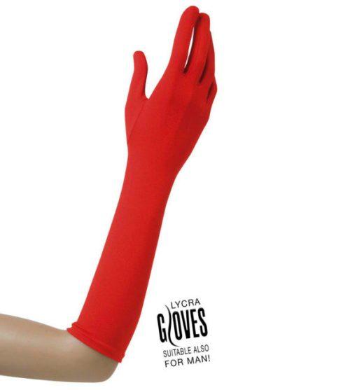 gants longs rouges