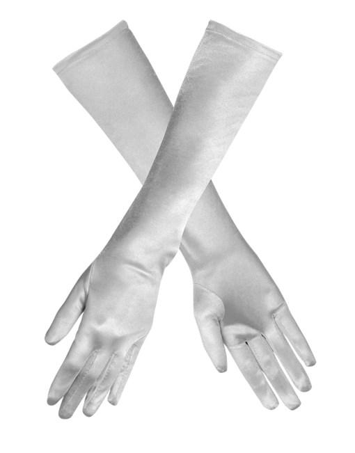 gants longs argentés