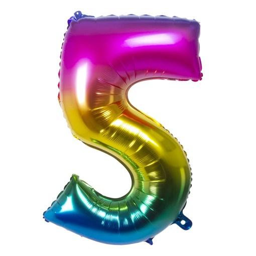 ballon chiffre 5 multicolore
