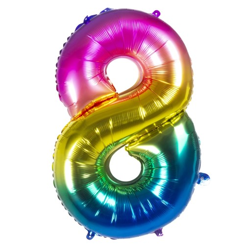 ballon chiffre 8 multicolore