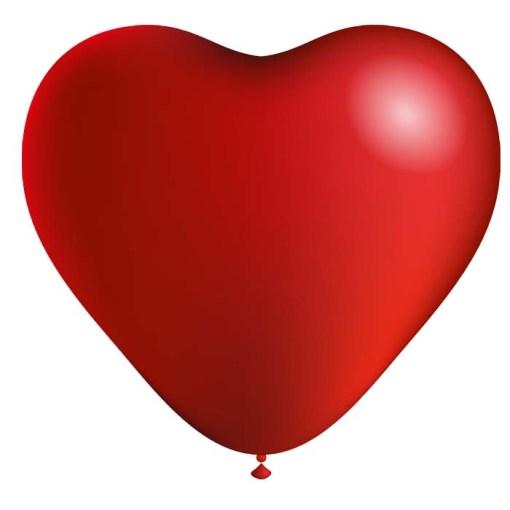 ballon par 10 coeur rouge