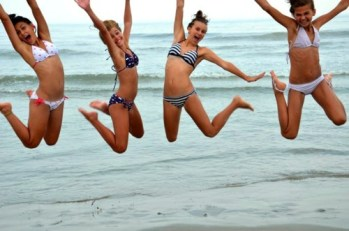 Teen Girls Jumping for the Pic