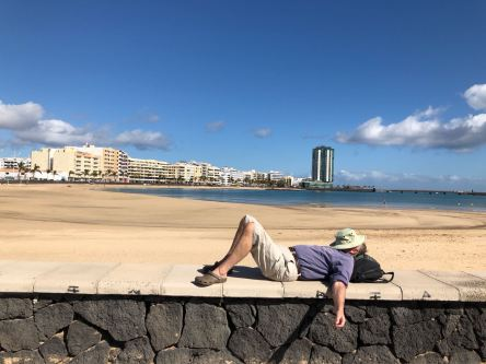 Mr Ward chilling out in Lanzarote's capital of Arrecife