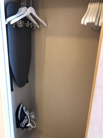 Iron and board stored in the wardrobe