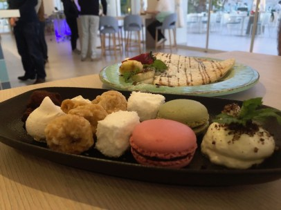 A selection of sweets and a crepe for dessert