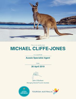 Mike Aussie Specialist Agent Certificate