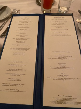 Menu example in the complimentary dining restaurants