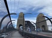 The pedestrian footpath across the bridge