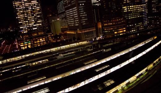 上から眺める東京駅  「ガラス越しに夜景撮影をしてみました」