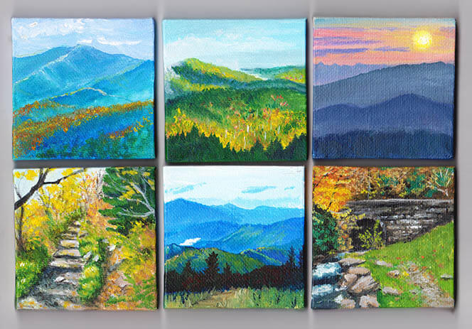 painting a mini canvas smoky mountain artwork camera and a canvas