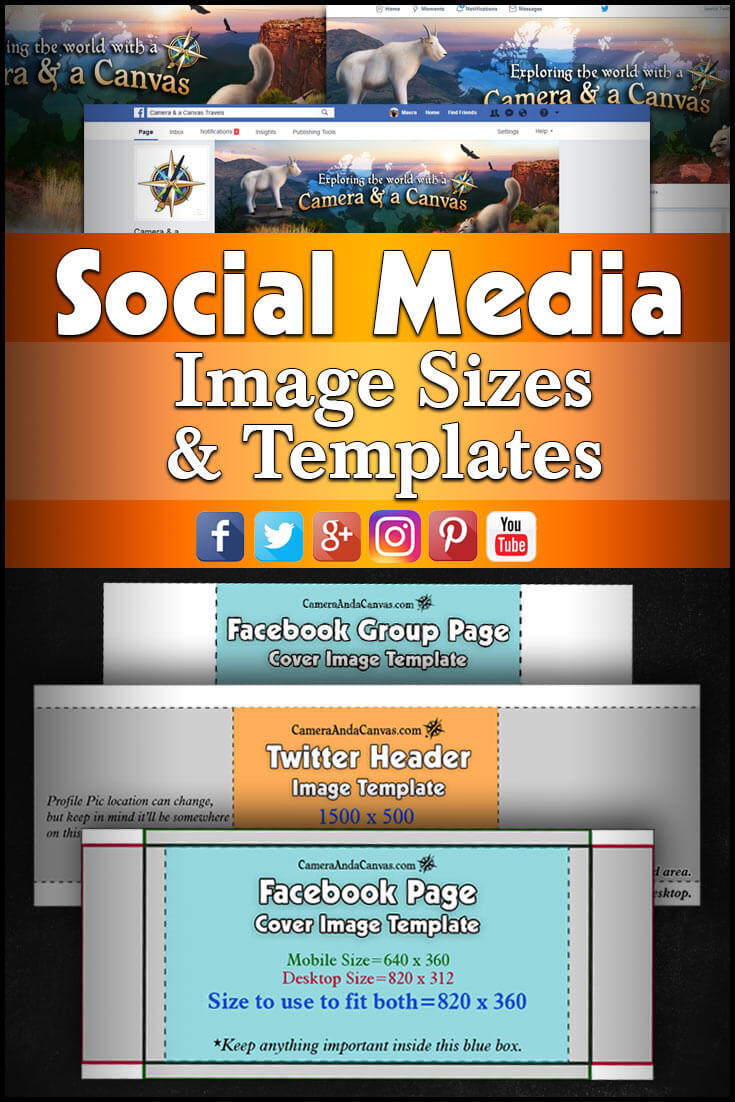 Social Media Image Sizes And Templates Camera And A Canvas