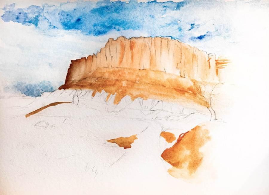 Blocking in the orange cliffs