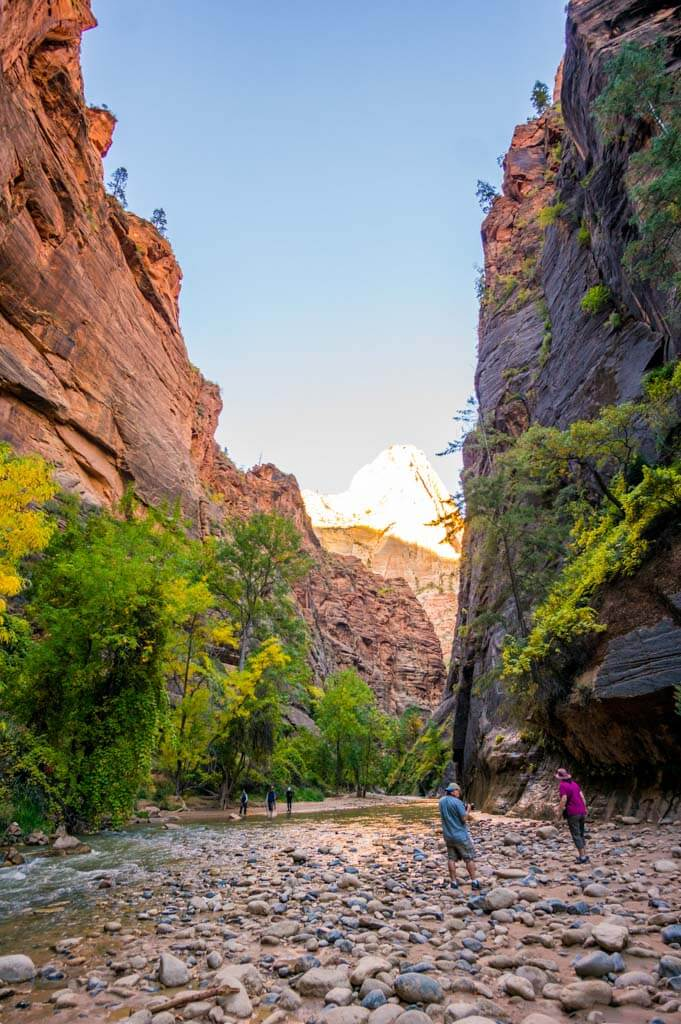 The end of Riverwalk trail and start of the Narrows in Zion.
