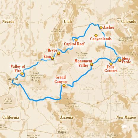 the Grand Circle road trip itinerary map