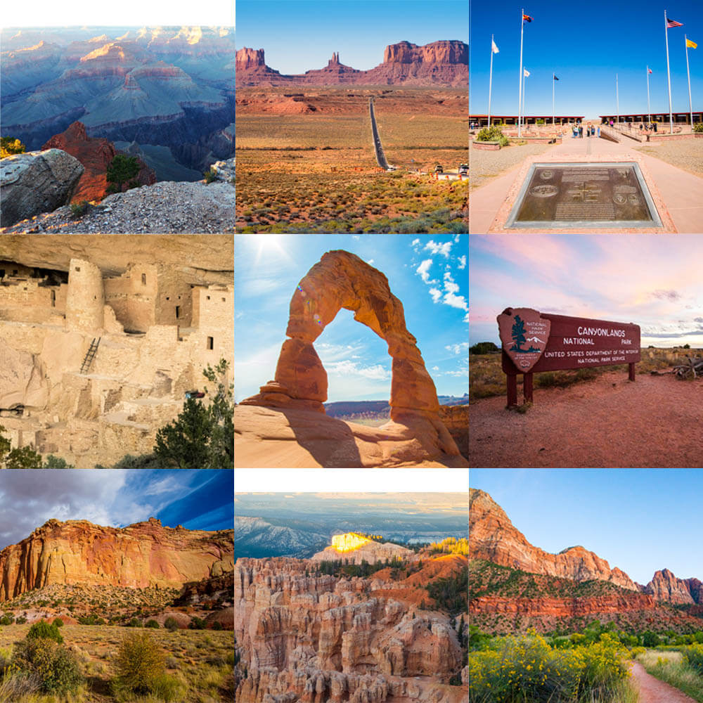 Collage of Grand Circle National Parks: Grand Canyon, Mesa Verde, Arches, Canyonlands, Capitol Reef, Bryce Canyon, and Zion, as well as Monument Valley and the four corners.