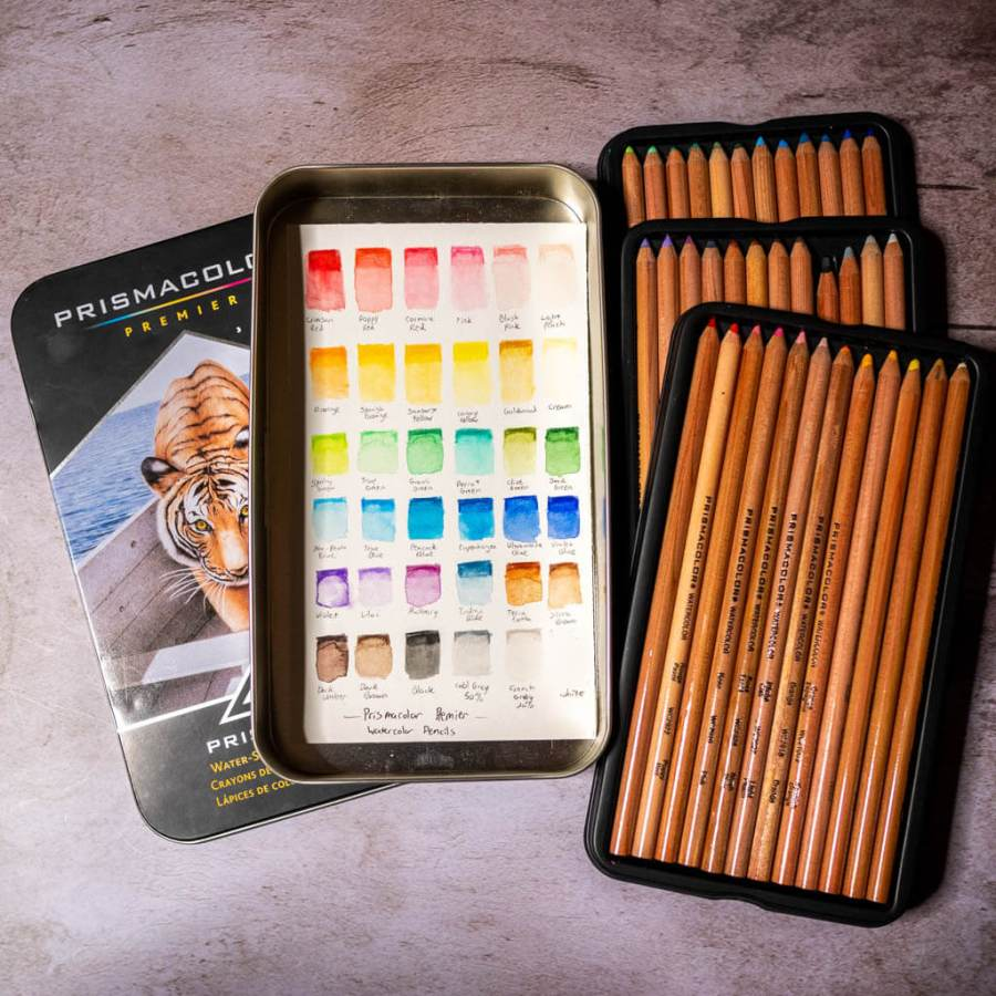 Prismacolor watercolor pencil set with homemade swatch chart