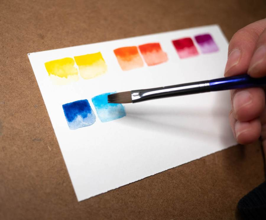 watercolor paint examples with a flat brush
