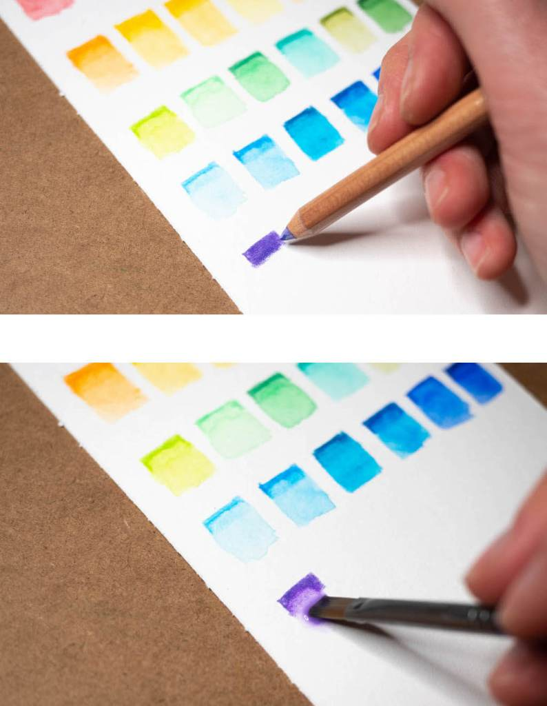 adding water to watercolor pencils to make a swatch