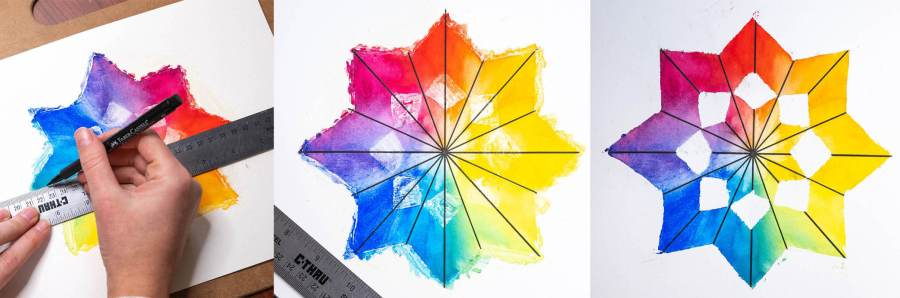 drawing lines on the star color wheel