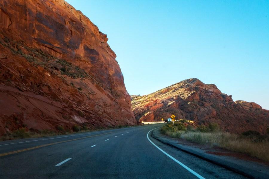 Driving towards Bluff, Utah
